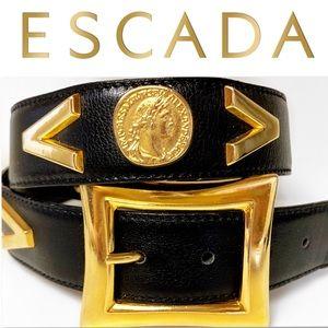 Escada Accessories - Vintage 80's ESCADA Black Gold Coin Belt 38 / M